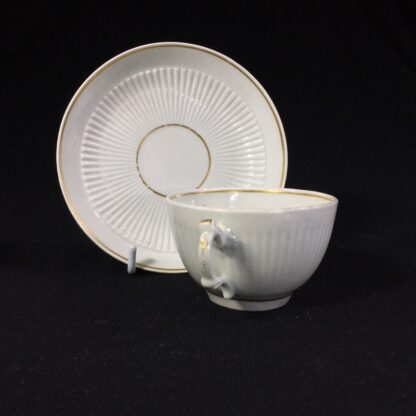 Worcester cup & saucer, fluted with simple gilt dec c.1770-25596