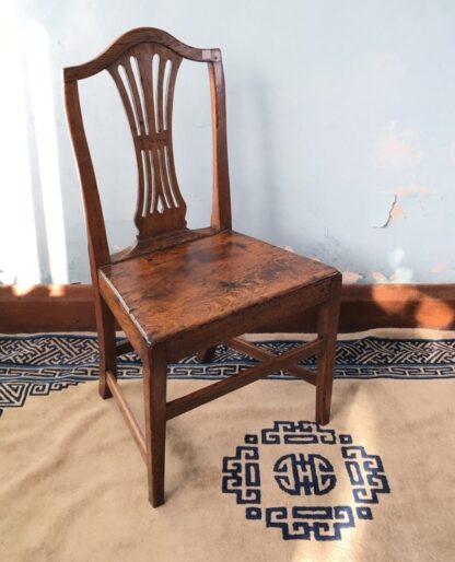 Country Hepplewhite oak chair, c.1800-0