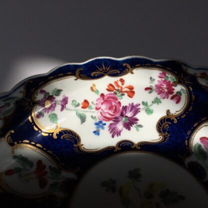 Small Worcester plate, scale blue with James Giles flower panels, c. 1765-23022