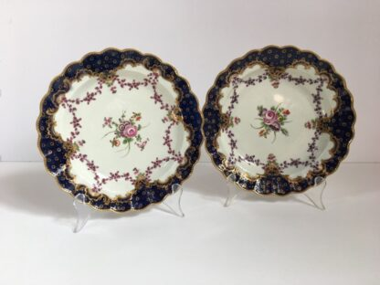 Pair of Worcester plates, flowers & swags, c. 1780-22996