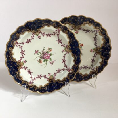 Pair of Worcester plates, flowers & swags, c. 1780-0
