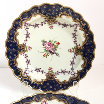 Pair of Worcester plates, flowers & swags, c. 1780-22999