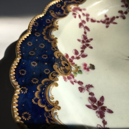 Pair of Worcester plates, flowers & swags, c. 1780-23001