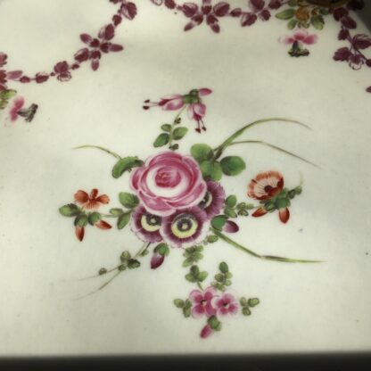 Pair of Worcester plates, flowers & swags, c. 1780-23002