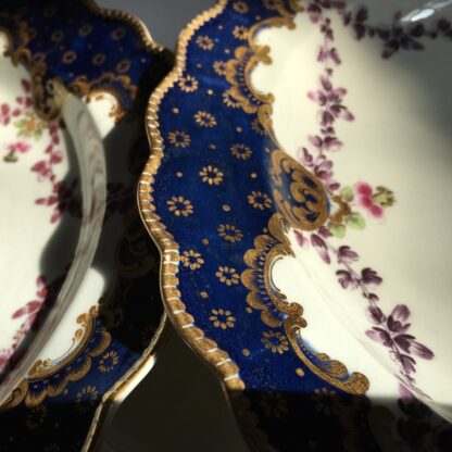 Pair of Worcester plates, flowers & swags, c. 1780-23005