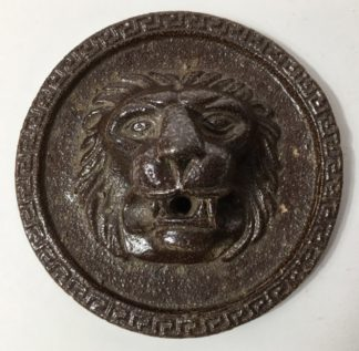 Pottery lions head roundel, early 20th century -0