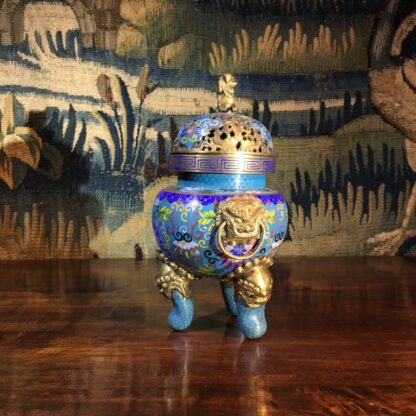 Chinese cloisonné censor, mask handles, foo dog finial, 19th century -28859