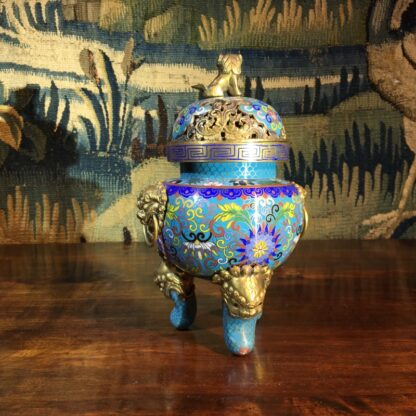 Chinese cloisonné censor, mask handles, foo dog finial, 19th century -28861