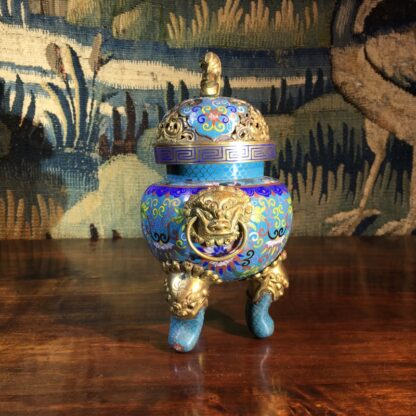Chinese cloisonné censor, mask handles, foo dog finial, 19th century -28862