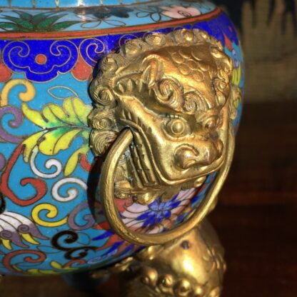 Chinese cloisonné censor, mask handles, foo dog finial, 19th century -28867