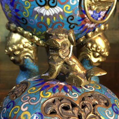 Chinese cloisonné censor, mask handles, foo dog finial, 19th century -28865