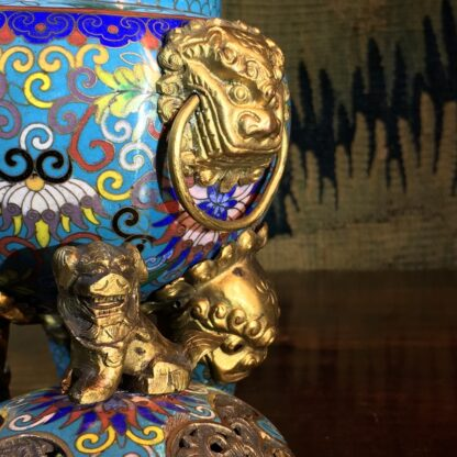Chinese cloisonné censor, mask handles, foo dog finial, 19th century -28871