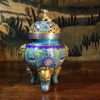 Chinese cloisonné censor, mask handles, foo dog finial, 19th century -0