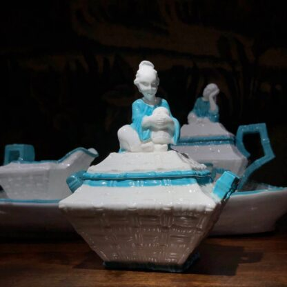 Porcelain cabaret set by T Ford moulded as baskets with Chinamen as handles, c. 1875 -32470
