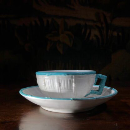 Porcelain cabaret set by T Ford moulded as baskets with Chinamen as handles, c. 1875 -32476