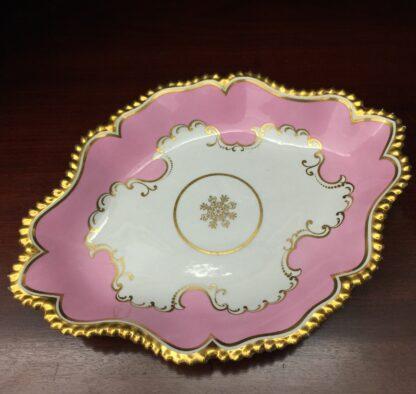 Flight Barr & Barr serving dish, pink & rich gilt, c.1835-0