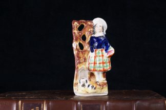 Staffordshire pottery figure, Scottish lass & dog, c.1860-0