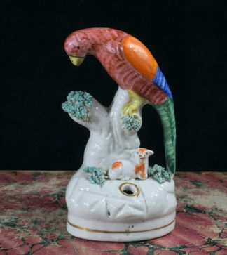 Staffordshire pottery quill holder, parrot & lamb, c. 1860-0