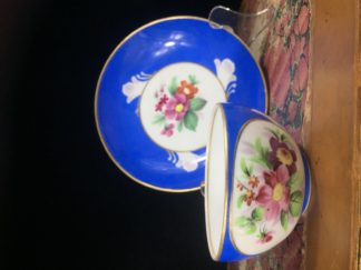 Gardner (Russia) cup & saucer, blue ground & flowers, c. 1880-0