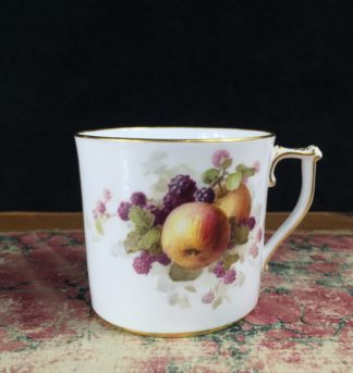 Stevenson & Hancock Derby coffee can with fruit by Chivers, rare mark 1934-5-0