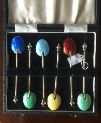 Set of 6 sterling silver and enamel coffee spoons, hallmarked 1955-60-0