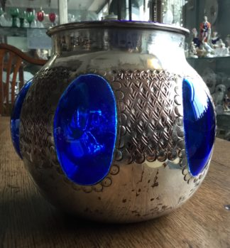 Interesting glass & silver plate vase, Middle East? c.1900-0