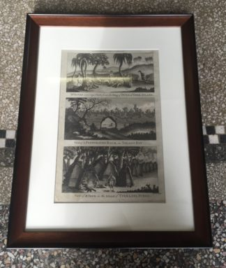 Cook's Voyages print - 3 views, Mr Banks, Terra del Fuego, c.1785 -0