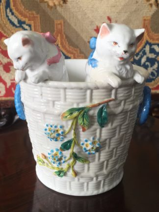 Porcelain vase modelled as a wicker basket with two kittens, c. 1895-0