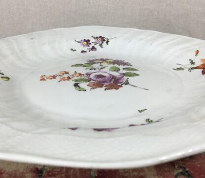 Vienna plate, flower sprays in Neubrandenstien moulding, c.1765-16827