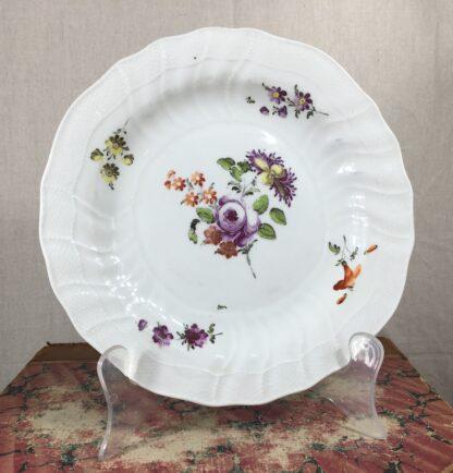 Vienna plate, flower sprays in Neubrandenstien moulding, c.1765-0