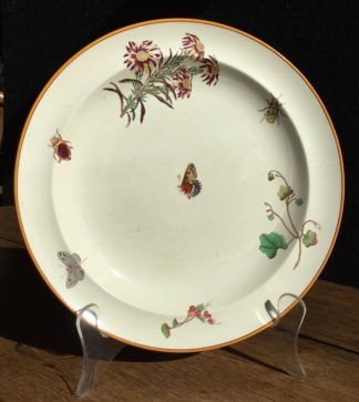 Wedgwood plate printed with butterfly & insects, Mortlocks, 1882-0