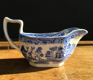 Willow pattern sauce boat, Staffordshire Pottery circa 1850-0