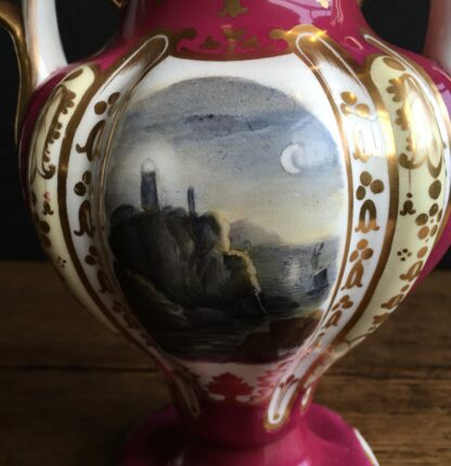 Samuel Alcock claret ground vase, moonlit scene, c.1840 -16984