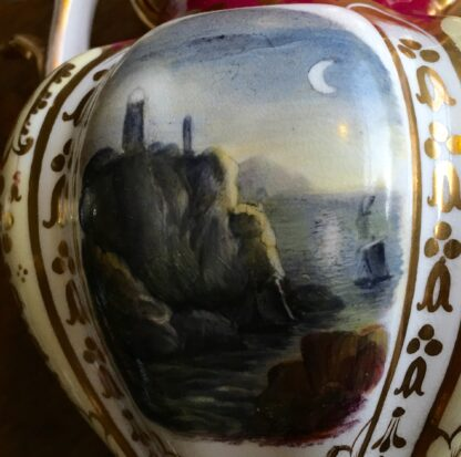 Samuel Alcock claret ground vase, moonlit scene, c.1840 -16986