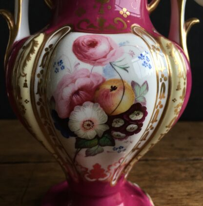 Samuel Alcock claret ground vase, flowers & scene, c.1840 -16991