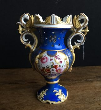 Samuel Alcock blue ground rococo vase with griffin handles, c. 1840-0