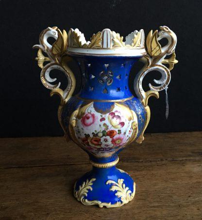 Samuel Alcock blue ground rococo vase with griffin handles, c. 1840-0