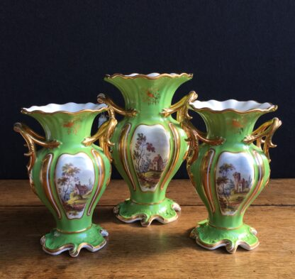 Garniture of Daniels vases, rococo with scenes, green ground, c.1830-17005
