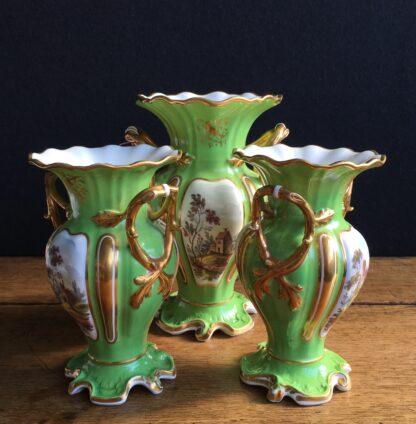 Garniture of Daniels vases, rococo with scenes, green ground, c.1830-17007