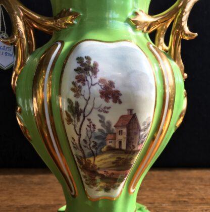 Garniture of Daniels vases, rococo with scenes, green ground, c.1830-17009