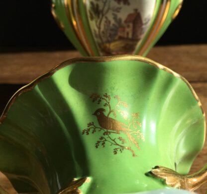 Garniture of Daniels vases, rococo with scenes, green ground, c.1830-17013