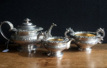 Old Sheffield Plate tea service, engraved flowers, c. 1825-0