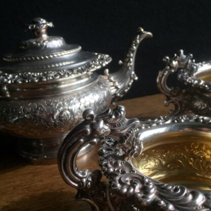 Old Sheffield Plate tea service, engraved flowers, c. 1825-17085