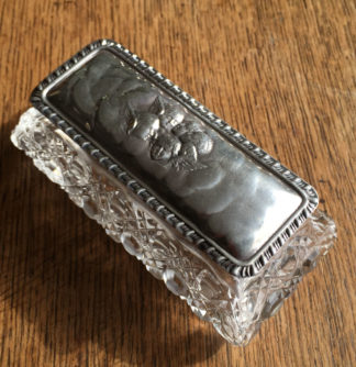 Cut crystal dressing table box, Angels sterling lid 1922-0