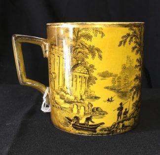 Ridgway mug with yellow ground, brown Italianate scenes, c.1880-0