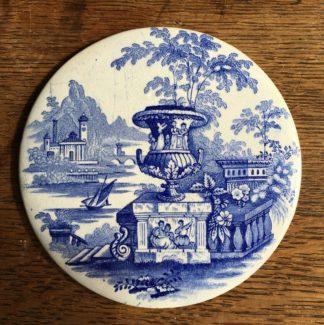 Staffordshire Pottery printed plaque, Italianate scene, c. 1830-0
