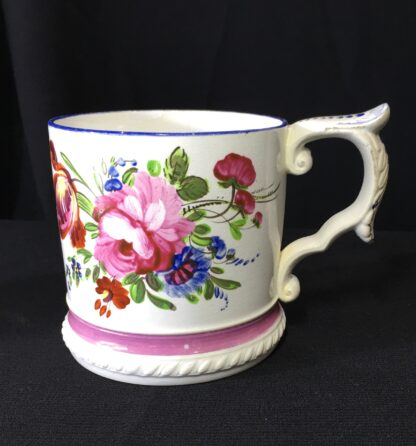Pearlware mug, ornate handle with flower painting, inscribed AH 1831 -0