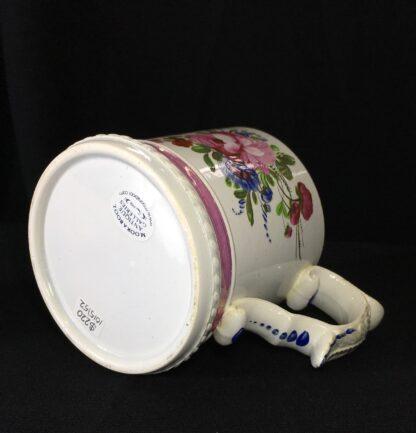 Pearlware mug, ornate handle with flower painting, inscribed AH 1831 -17275