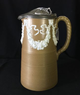 Paxton/Dudson sprigged jug lions heads & swags, 1877. -0