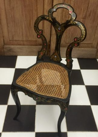 Victorian black lacquer & pearlshell painted chair, C1870.-0